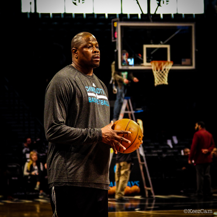 New York Knicks Legend & Charlotte Hornets Associate Head Coach Patrick Ewing pregame at Barclays Center