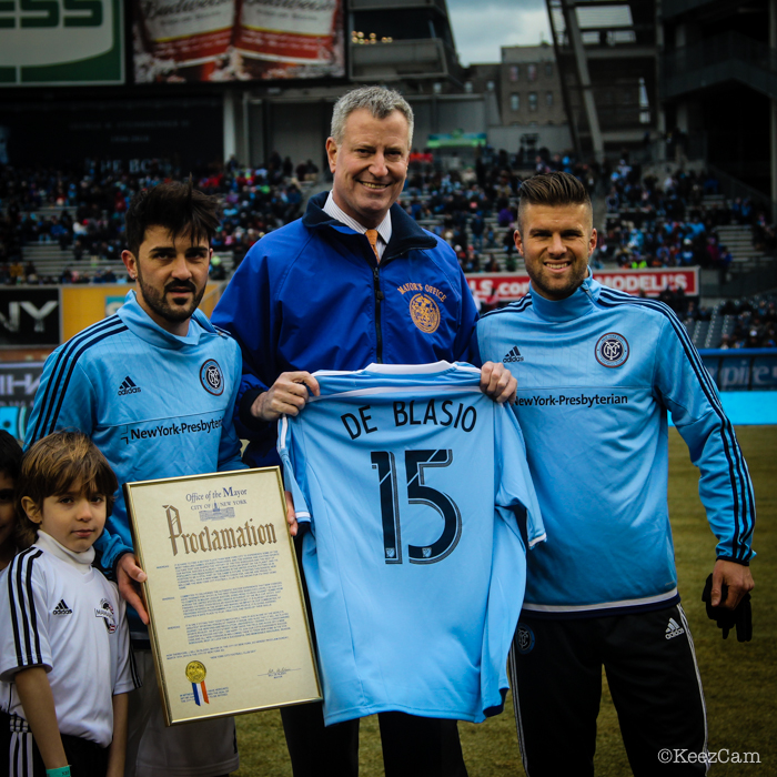 David Villa, Bill de Blasio & Chris Wingert