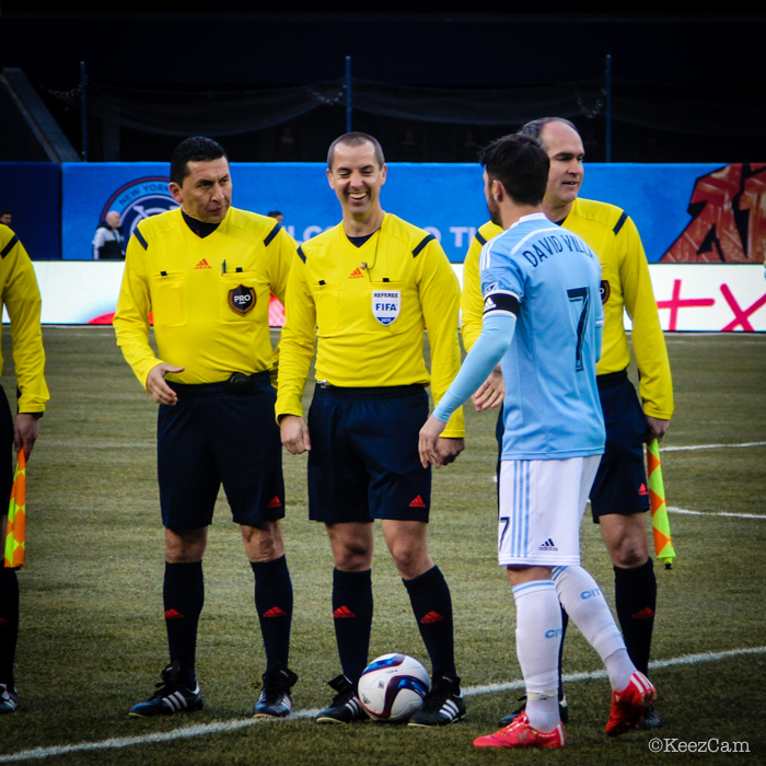 David Villa & Game Officials
