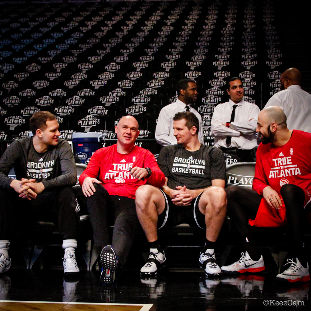 Bojan Bogdanovic, Neven Spahija, Mirza Teletovic & Pero Antic Game Three Pre-Game at Barclays Center