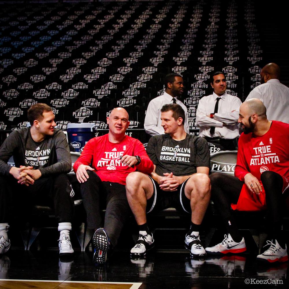 Bojan Bogdanovic, Neven Spahija, Mirza Teletovic & Pero Antic Game Three Pre-Game at Barclays Center