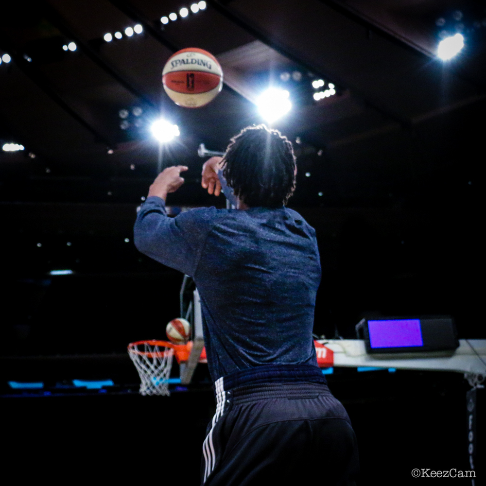 Indiana Fever G/F Tamika Catchings Pre-game work at Madison Square Garden