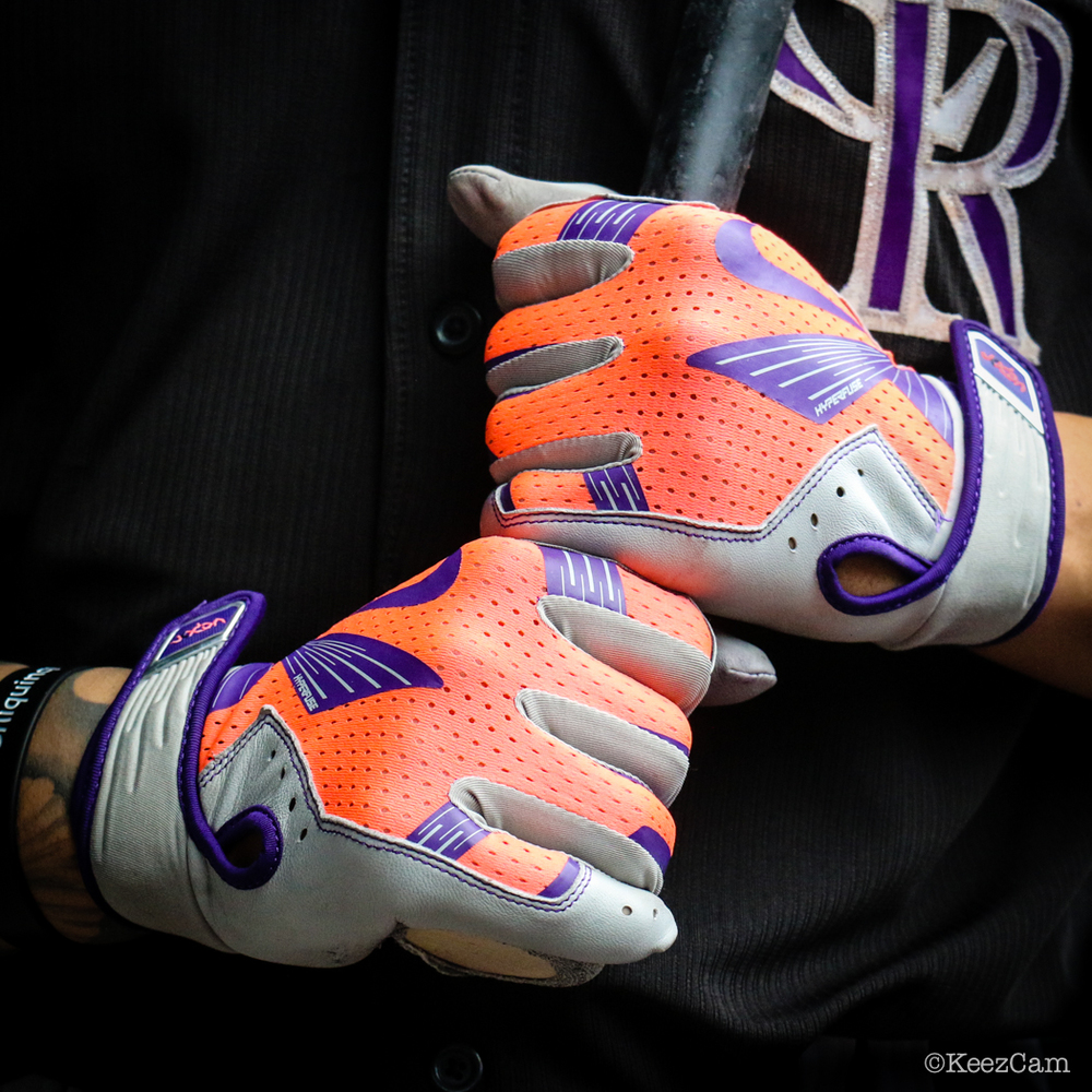 "Carlos ""Cargo"" Gonzalez Infrared game batting gloves at Citi Field"