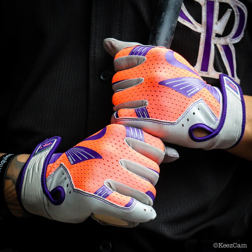 "Carlos ""Cargo"" Gonzalez Infrared game batting gloves at Citi Field"