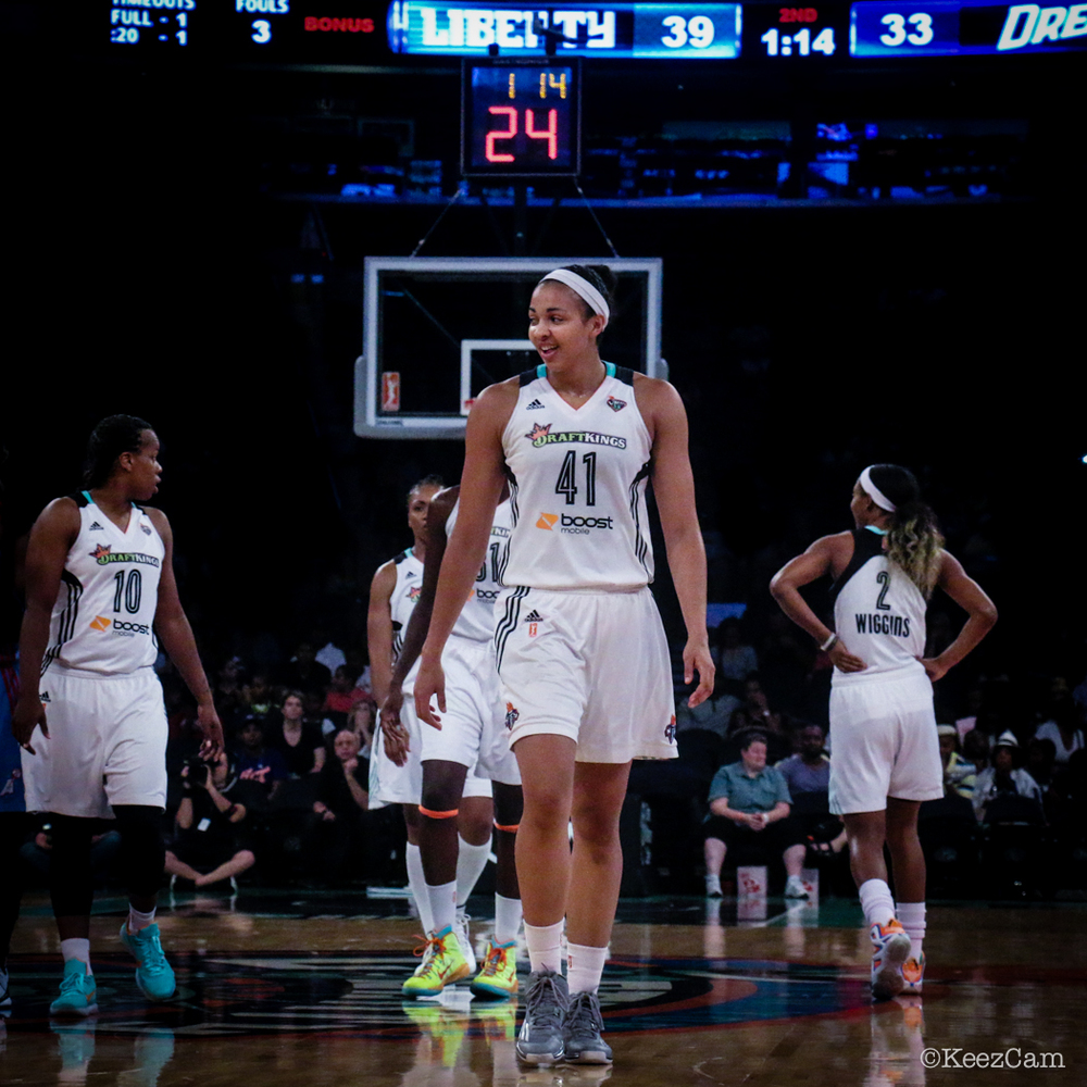 Rookie of the Month of August Kiah Stokes at Madison Square Garden.