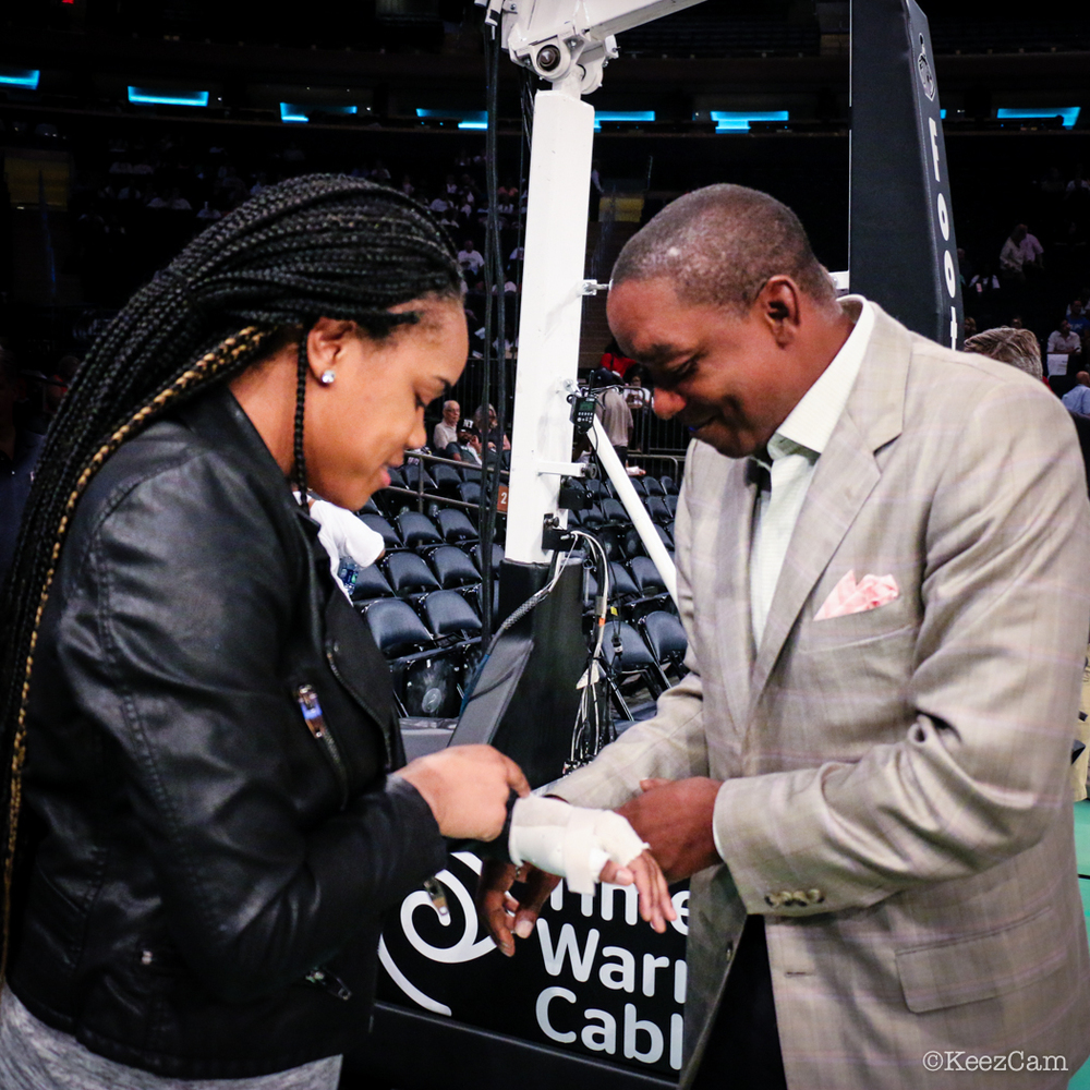 NBA Legend & New York Liberty President/Owner Isiah Thomas checking in on his rook Brittany Boyd last night at Madison Square Garden