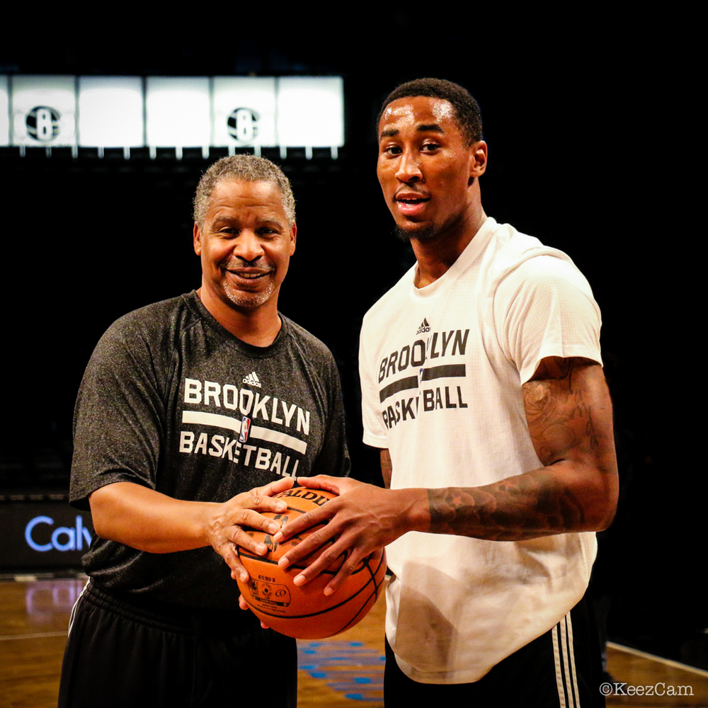 Brooklyn Nets bench coach Jay Humphries & Rondae Hollis-Jefferson at Barclays Center