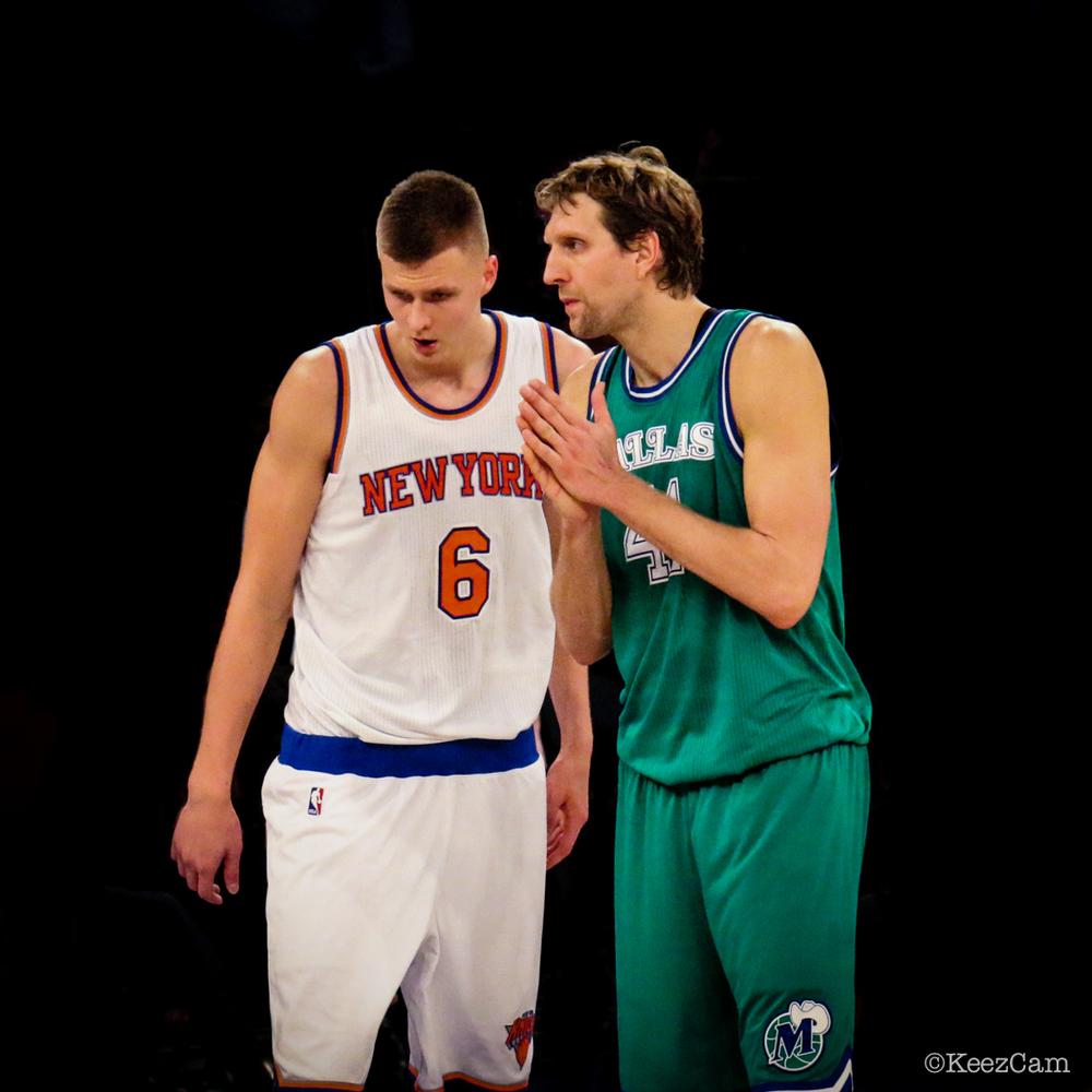 New York Knicks F Kristaps Porzingis & Dallas Mavericks F Dirk Nowitzki at Madison Square Garden
