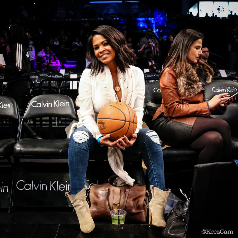 Nia Long court side at Barclays Center