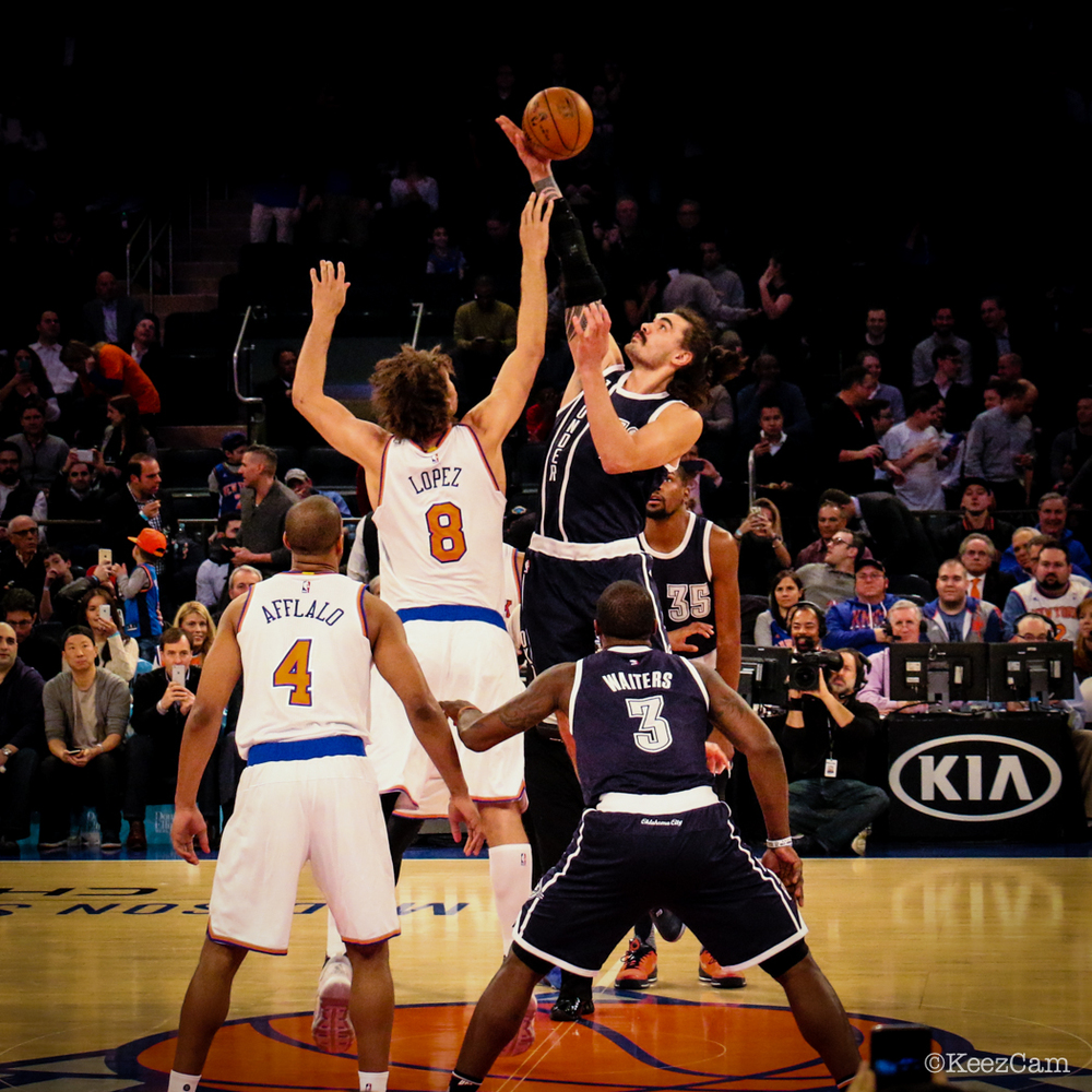 Oklahoma City Thunder vs New York Knicks Tipoff at Madison Square Garden