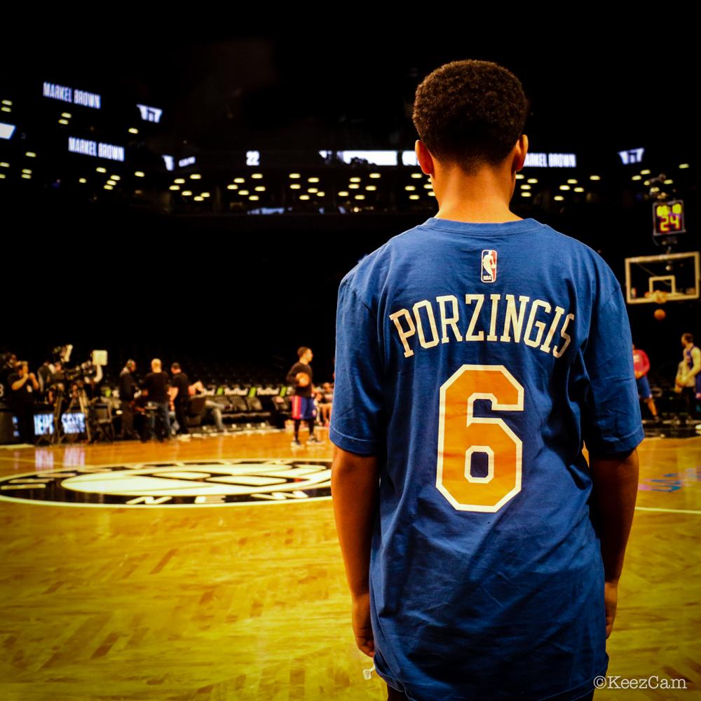 Young Kristaps Porzingis fan in Brooklyn