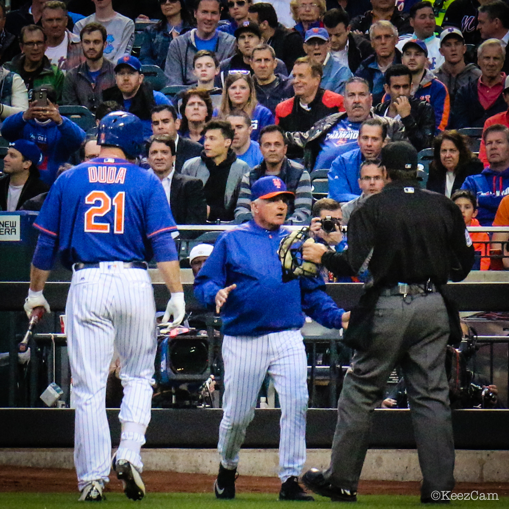 Lucas Duda & Terry Collins game action
