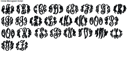 Circle Monogram Script Full Alphabet