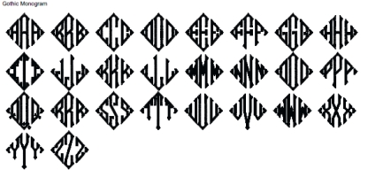 Gothic Monogram Full Alphabet