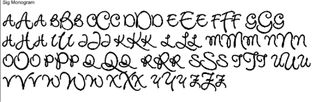 Sig Monogram Full Alphabet