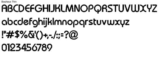 Bauhaus Thin Full Alphabet