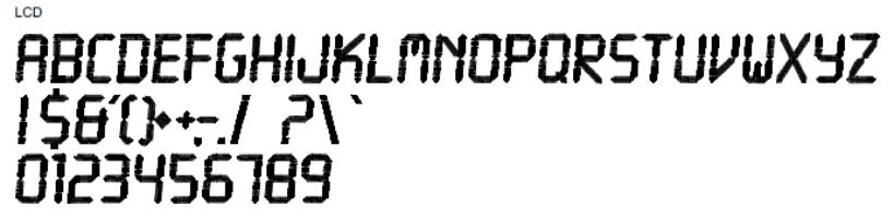 LCD Full Alphabet