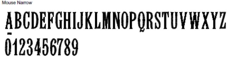 Mouse Narrow Full Alphabet