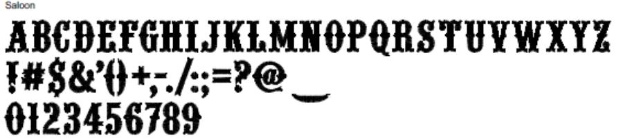 Saloon Full Alphabet