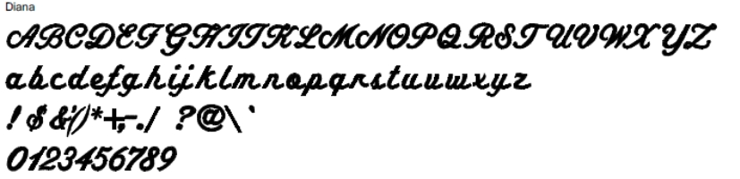 Diana Full Alphabet