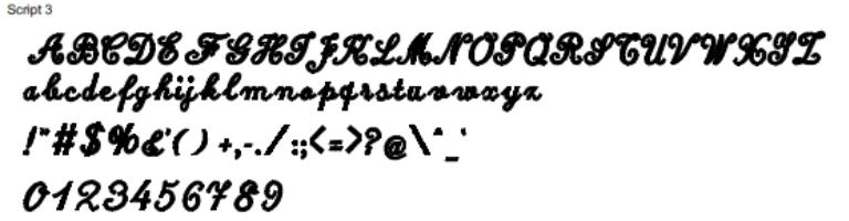 Script 3 Full Alphabet