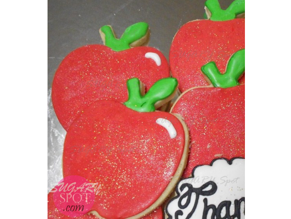 Decorated apple cookie set.