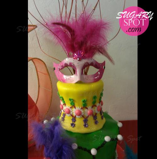 Masquerade party cake.