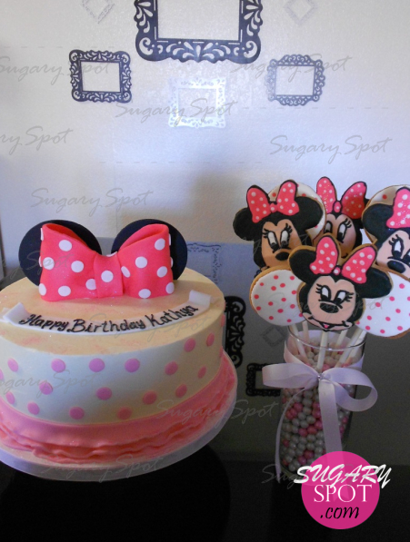 Cute Minnie Mouse cake with cookies bouquet. Crystal vase filled w/ pearl chocolate balls.