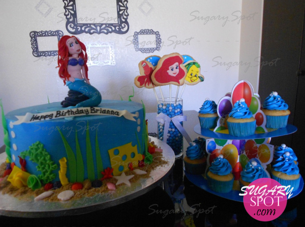 Little Mermaid cake, cookies bouquet and cupcakes.