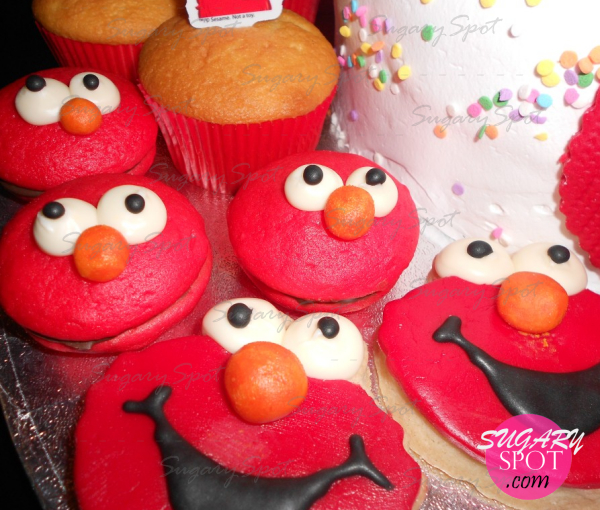 Elmo mini whoopie pies, muffins and cookies decorated w/ modeling chocolate.