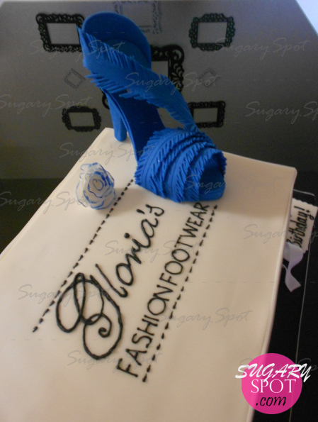Shoe box Cake with High heel made of sugarpaste. Gloria's Fashion Footwear.