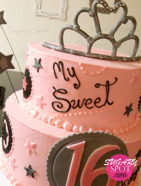 Sweet 16 princess cake. Iced w/ strawberry buttercream. Cake and filling also strawberry.