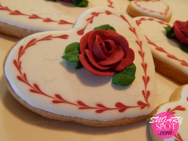 Hearts and Roses, decorated cookies.