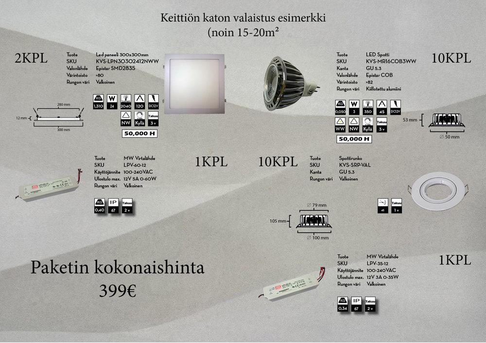 LED-paneeleilla luodaan keittiöön tehokasta yleisvaloa ja spoteilla taas saadaan kohdenettua valoa sekä tunnelmaa tilaan.