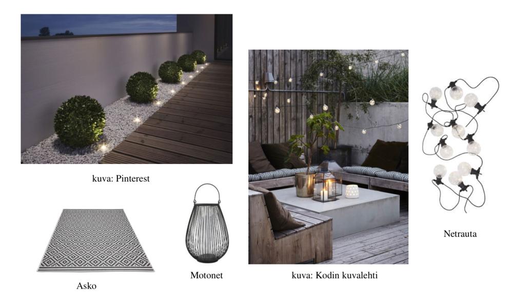 Terassille voi luoda kaunista tunnelmaa istutuksiin upotettavilla valoilla, kynttilöillä ja valoketjuilla.