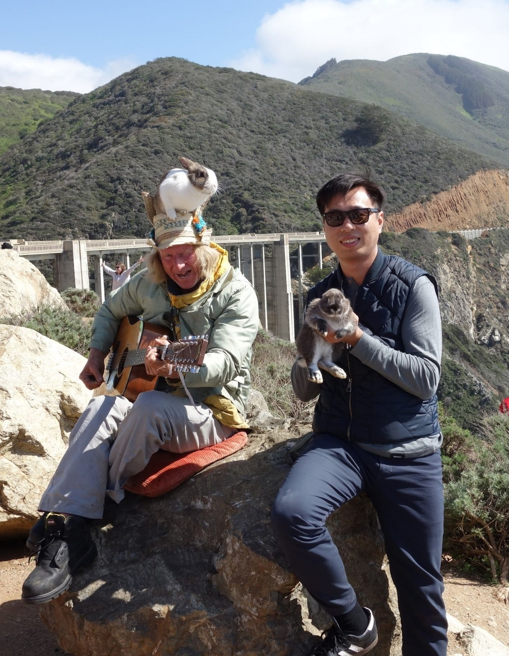 Me (on the right) with some fun & unusual characters in Big Sur.
