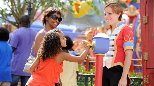 Categoría de Experiencias   MyMagic+, Walt Disney Parks and Resorts  Walt Disney World Resort ha lanzado unas pulseras que registra todos los datos de los visitantes y que te permite hacer encargos de comida, el check-in en las habitaciones, etc.