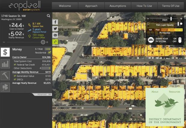 Categoría de Visualización de Datos   Mapdwell Solar System  Una plataforma que te permite diseñar sistemas de energía solar para tu hogar.