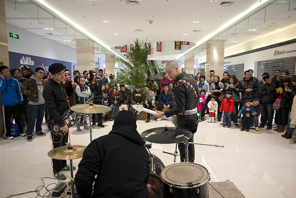 Shochu Legion play at the Up The Punks kiosk in Changying BHG mall, November 23, 2013.