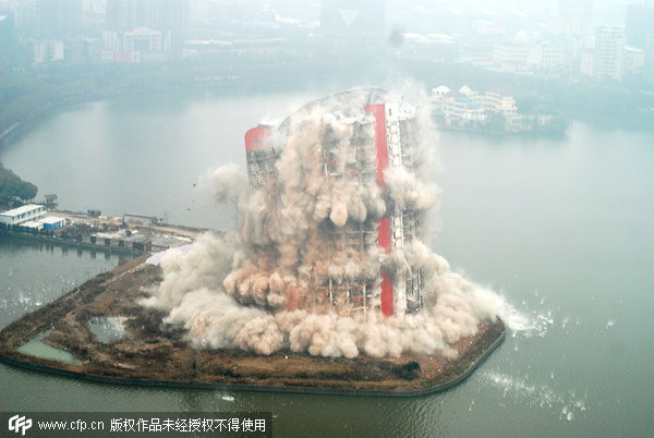 A hotel in Nanchang, capital of Jiangxi province, is blown up in 2010. Erected only 13 years earlier, it was a city landmark before being flattened to upgrade from a four-star to five-star establishment.