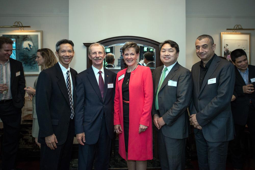 L-R: Chris Chan AIA, Rich DeYoung FAIA, Helene Dreiling FAIA (2014 AIA President), David Nieh AIA, Hisham Youssef AIA