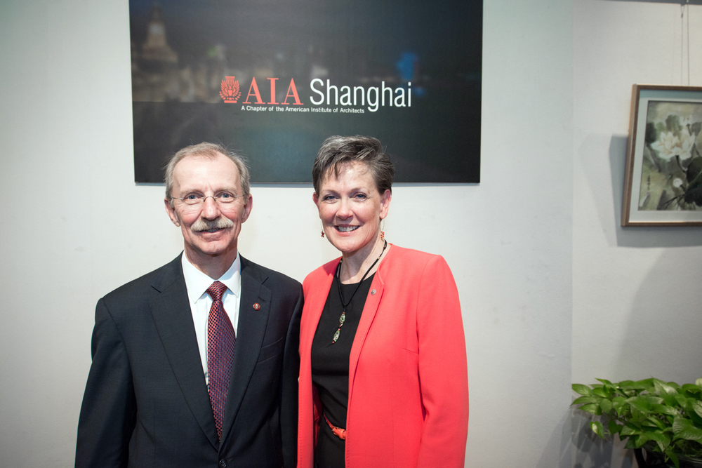 Helene Dreiling FAIA and Rich DeYoung FAIA pose for AIA Shanghai