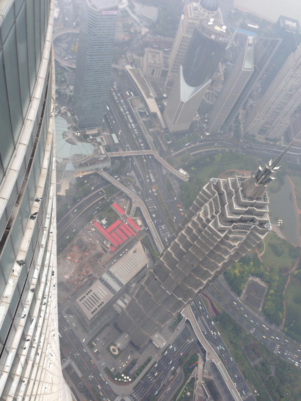 Hanging out and over Jinmao tower
