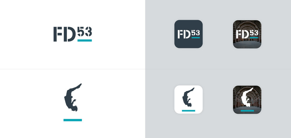 Flight Deck 53 jumping man symbol and social media icons – Design by Ian Whalley