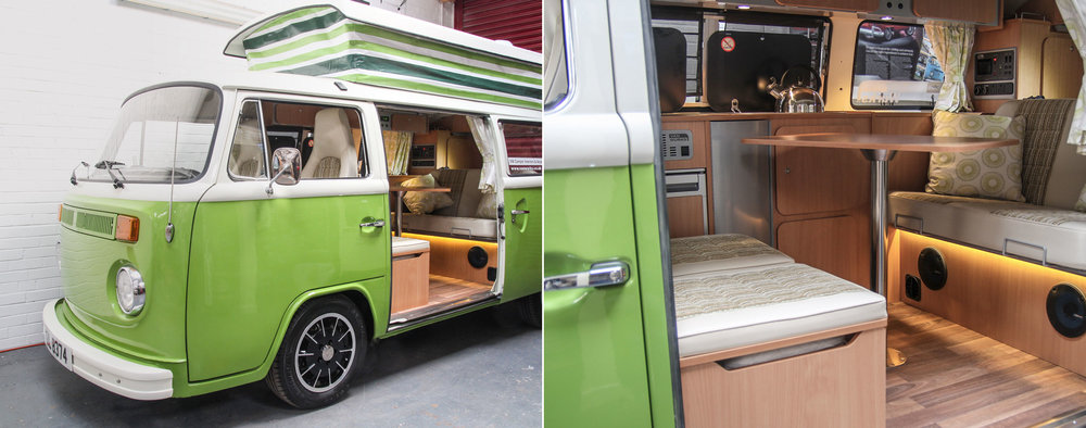A VW camper fitted-out with a Van Wurks interior