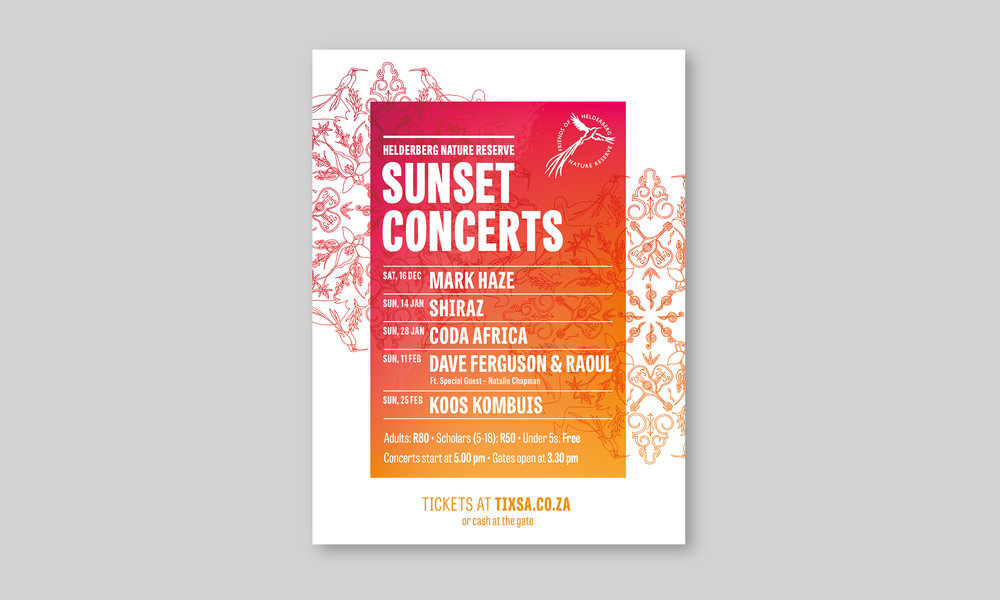 Promotional Flyer for Helderberg Nature reserves Sunset Concerts – by Ian Whalley