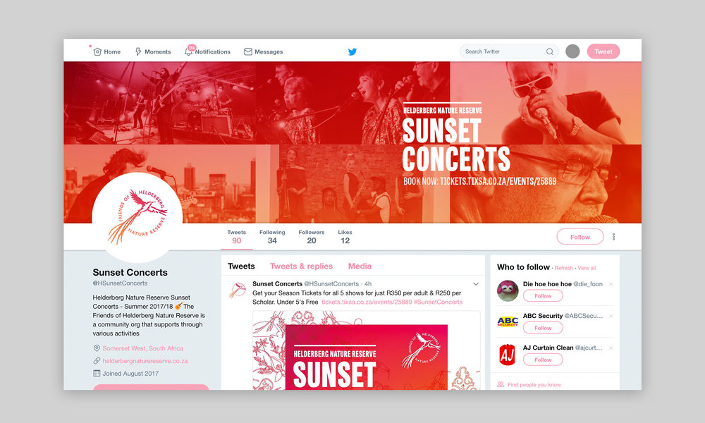 Twitter account for the Helderberg Sunset Concerts – Design by Ian Whalley