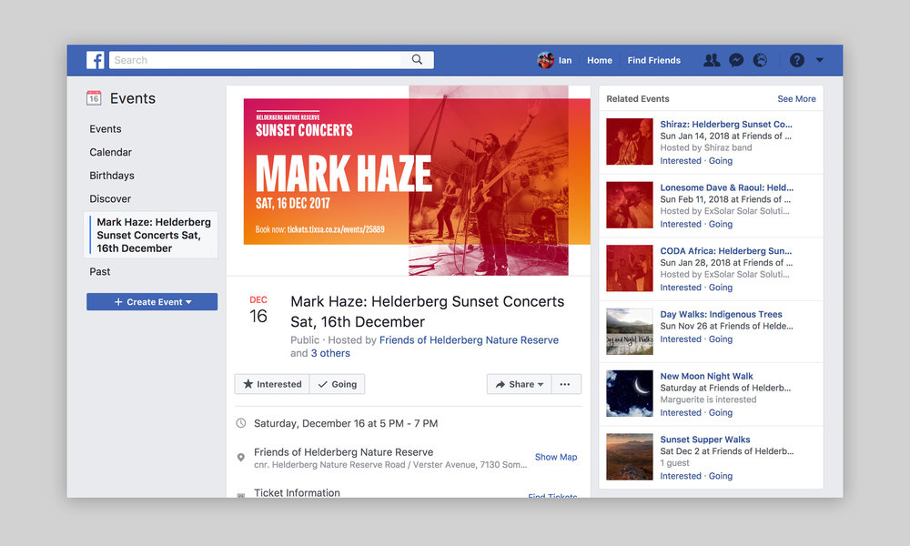 Facebook account for the Helderberg Sunset Concerts – Design by Ian Whalley