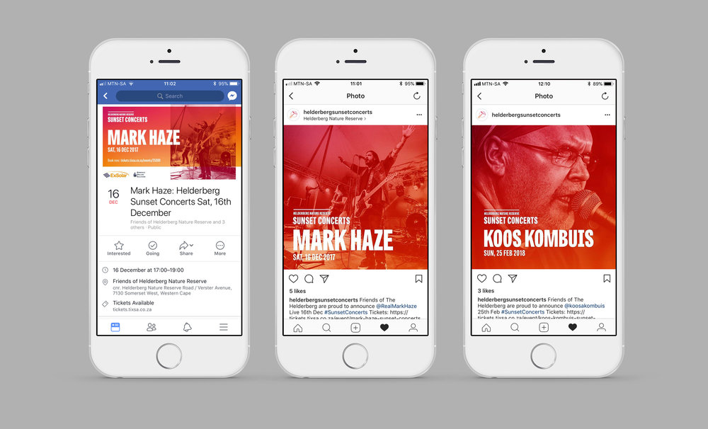 Social media promo designs for Sunset Concerts – by Ian Whalley