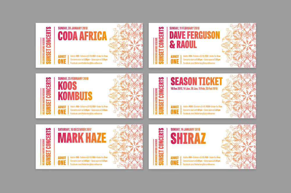 Ticket design for the Helderberg Sunset Concerts – Designed by Ian Whalley